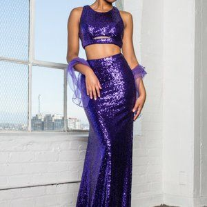 Crew Neck Sequined Two Piece Prom Dress GSGL2333